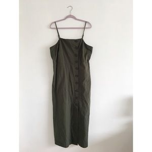 OLIVE GREEN BUTTON DOWN DRESS XL